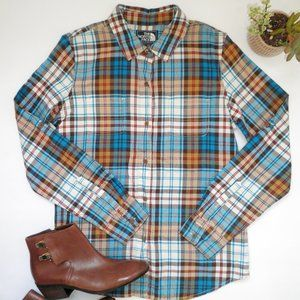 The North Face BLUE & Olive Plaid FLANNEL Shirt M